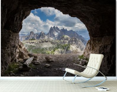 Panorama from man-made caves, Dolomites, Italy.