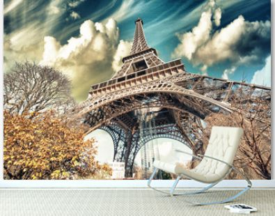Wonderful street view of Eiffel Tower and Winter Vegetation - Pa