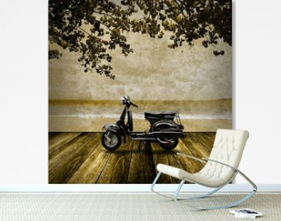 Nostagia concept, Scooter on the beach