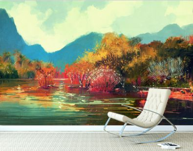 painting of beautiful autumn forest,illustration.