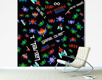 seamless pattern old computer game