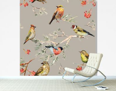 seamless texture of cute birds. watercolor painting
