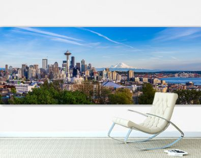 Panorama view of Seattle downtown skyline and Mt. Rainier, Washi