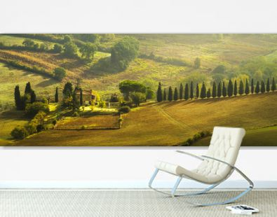 farmhouse in the Tuscan hills of the beautiful autumn morning
