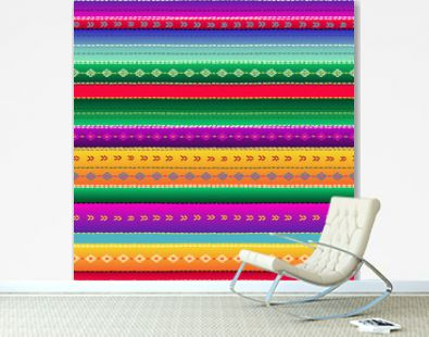 Seamless ethnic mexican fabric pattern with colorful stripes. Repeat straight blue, red, green, yellow, violet stripes texture background, vector.