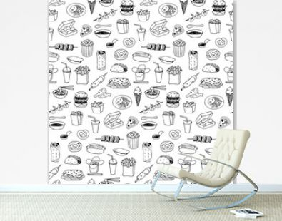 Fast Food seamless hand drawn doodle pattern