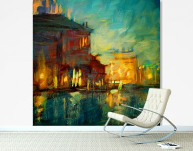 venice night channel, painting by oil on canvas, illustration