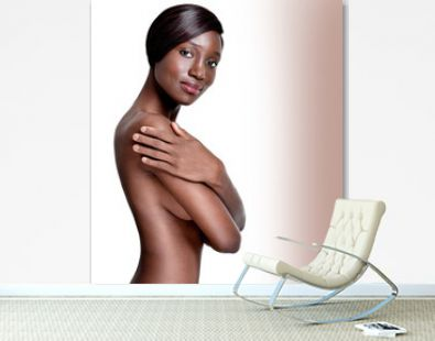 Beautiful African-American young woman with clean skin nude topl