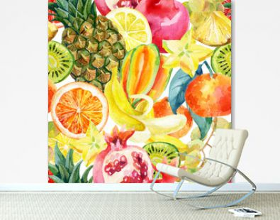 Exotic watercolor fruit mix seamless pattern