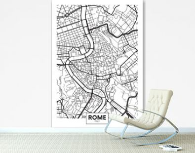 Vector poster map city Rome