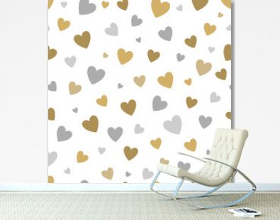 beautiful seamless pattern with gold and silver glittering hearts on white background.