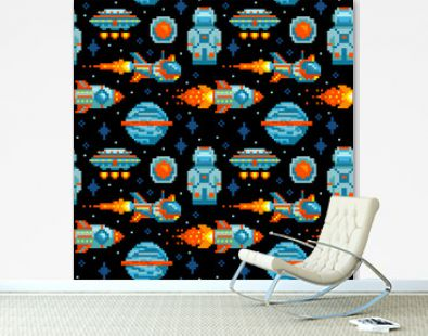 Pixel art. Space seamless pattern. Planet, spaceship, rocket, astronaut, UFO. Space background.