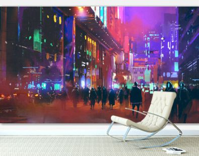 people walking in the sci-fi city at night with colorful light,illustration painting