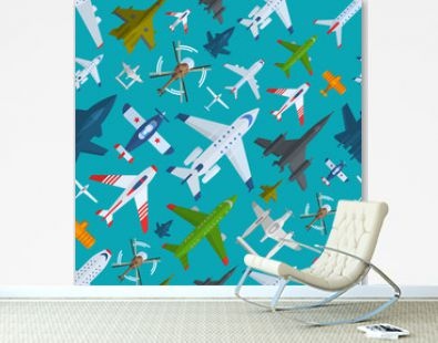 Aircraft plains top view vector illustration seamless pattern