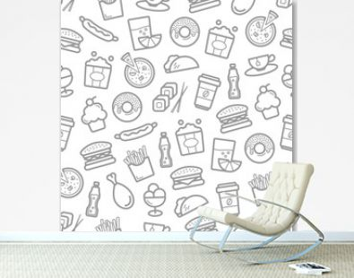 Fast food seamless pattern of seafood, snacks and desserts. Vector burgers and sandwiches, sushi and sashimi rolls, pizza and hot dog, chicken legs and wings and french fries with popcorn basket
