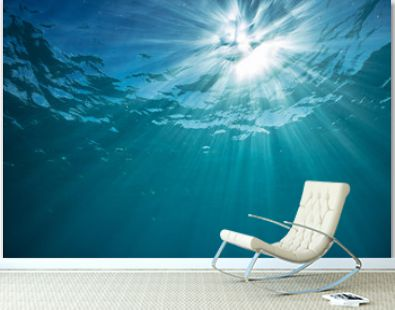 Underwater world discovered with sunbeams shining trought water surface