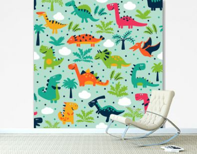 Adorable seamless pattern with funny dinosaurs in cartoon