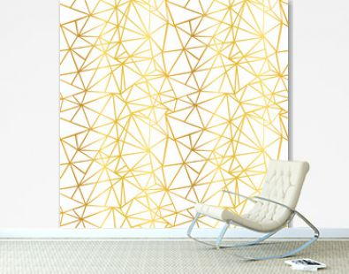 Vector White and Gold Foil Wire Geometric Mosaic Triangles Repeat Seamless Pattern Background. Can Be Used For Fabric, Wallpaper, Stationery, Packaging.