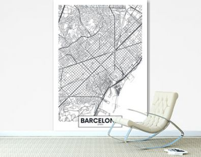 Vector poster map city Barcelona