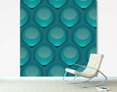 stylized peacock feathers seamless tile in blue shades