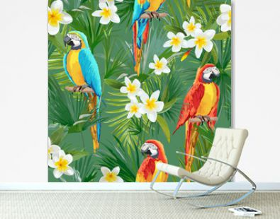 Tropical Seamless Vector Parrot and Floral Summer Pattern. For Wallpapers, Backgrounds, Textures, Textile, Cards.