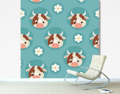 Cows and flowers blue seamless pattern