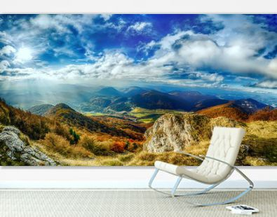 Landscape panorama with beautiful blue sky and sunny glow in slowakia