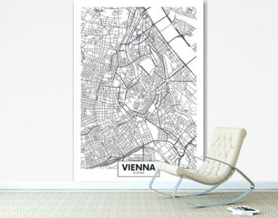 Detailed vector poster city map Vienna