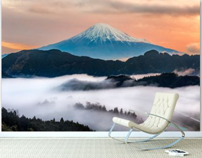 Mountain fuji with mist during dusk time,Japan