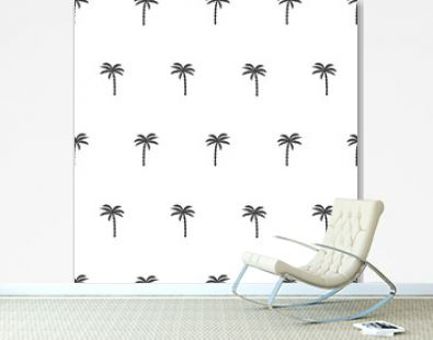 Black and white seamless pattern with palm tree. Vector tropical background.