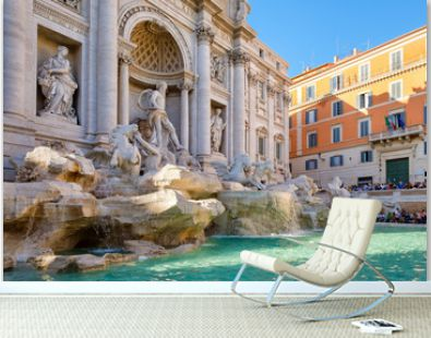 The famous Trevi Fountain or Fontana de Trevi in central Rome