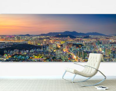 Seoul. Panoramic cityscape image of Seoul downtown during summer sunset.