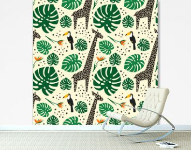 Giraffes, toucans and palm leaves seamless pattern on white background. Jungle animals with tropical plants print. Fashion safari design for textile, wallpaper, fabric.