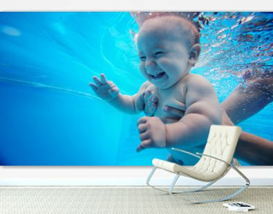 Baby background. Happy infant learn to swim, dive underwater with fun in pool to keep fit.