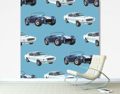 Cute colorful seamless pattern with cars. Vector illustration. Retro background.