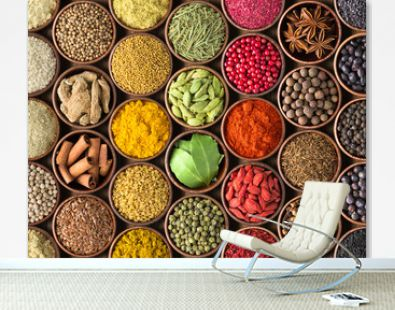 Spices and herbs background. Condiments on the table spread out by a rainbow