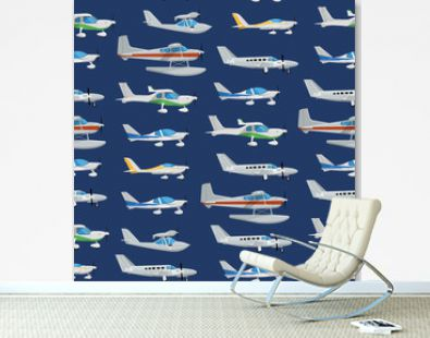 Seamless pattern with propeller airplanes