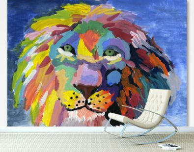Avantgarde colorful portrait of a lion