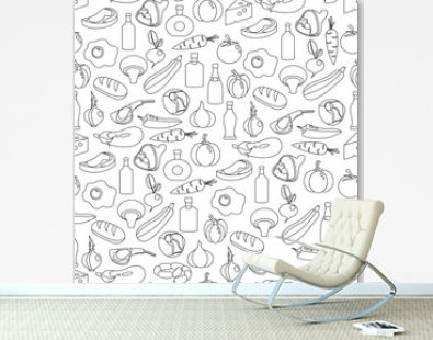 Vector seamless pattern of flat food and drink