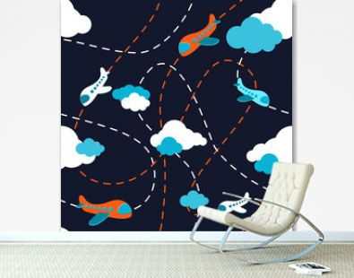 Seamless airplane pattern. Aircraft in clouds. Cartoons style. Colorful plane on dark background. Kids boy plane pattern