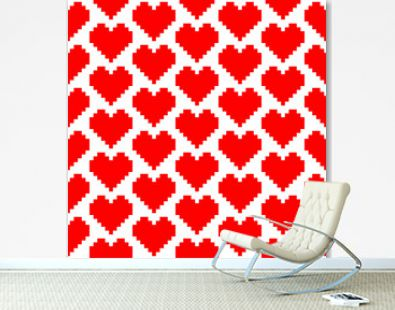 Retro Seamless Heart Pattern Pixel Big Red
