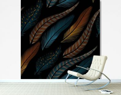 Decorative feathers seamless