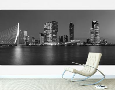 City Landscape, black-and-white panorama - Night view on Erasmus Bridge and district Feijenoord city of Rotterdam, The Netherlands.