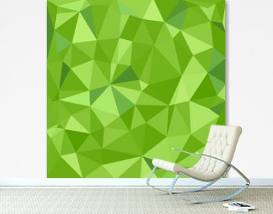 Military low poly background of soldier green camouflaging seamless pattern. Abstract vector camo texture of geometric shapes for army clothing.