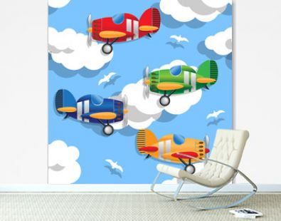 Aircraft in the sky. Seamless pattern. Vector illustration.
