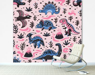 Cute cartoon dinosaurs seamless pattern in pink and blue colors. Vector illustration