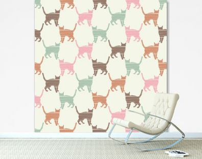 Seamless pattern with Cute Cats. A pattern of pixel Cats. Funny lovely Cats. Textile rapport.