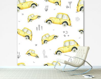 Seamless pattern with yellow cars and road signs on white background