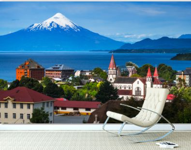 City of Puerto Varas with volcano of Osorno on the background. Chile