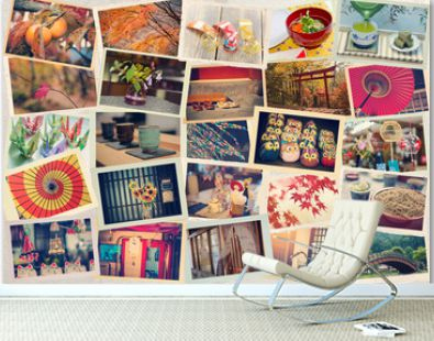 Collage of photos taken while traveling in Japan against the background of Japanese paper. Toned. Travel to Japan concept.